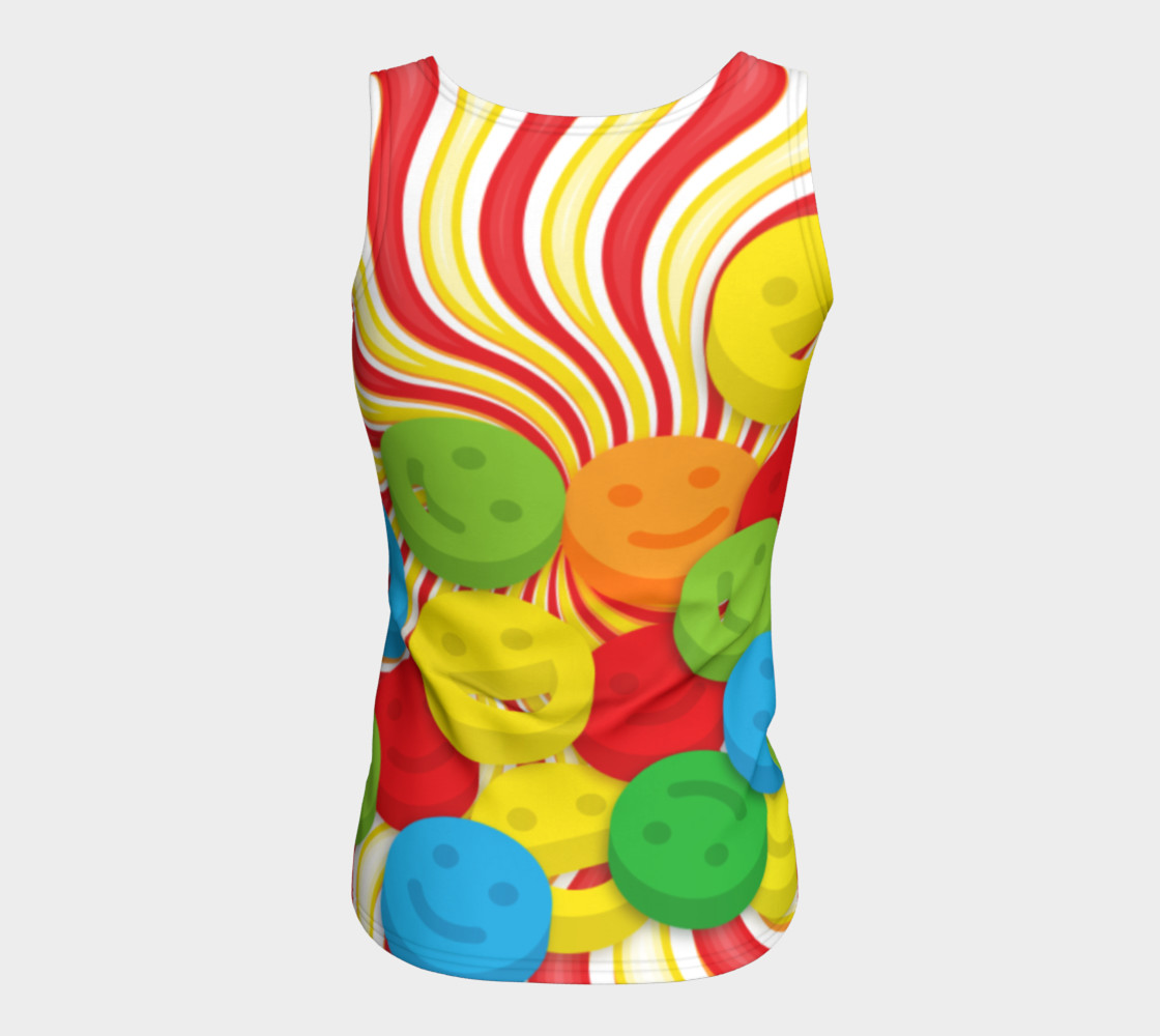 Aperçu de Rainbow Candy Swirls and Smiley Face Emojis Fitted Tank Top #6