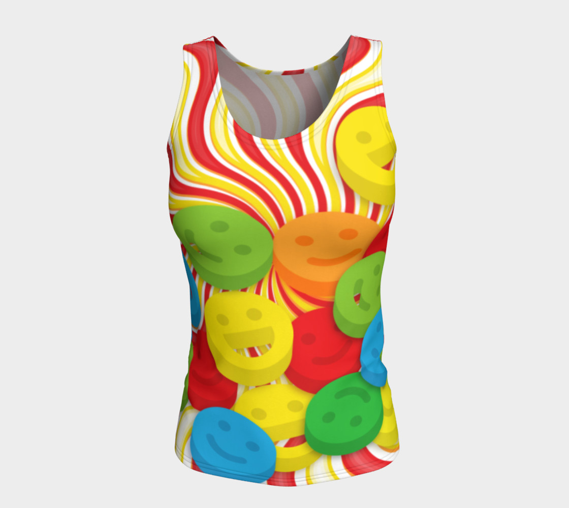 Aperçu de Rainbow Candy Swirls and Smiley Face Emojis Fitted Tank Top #5