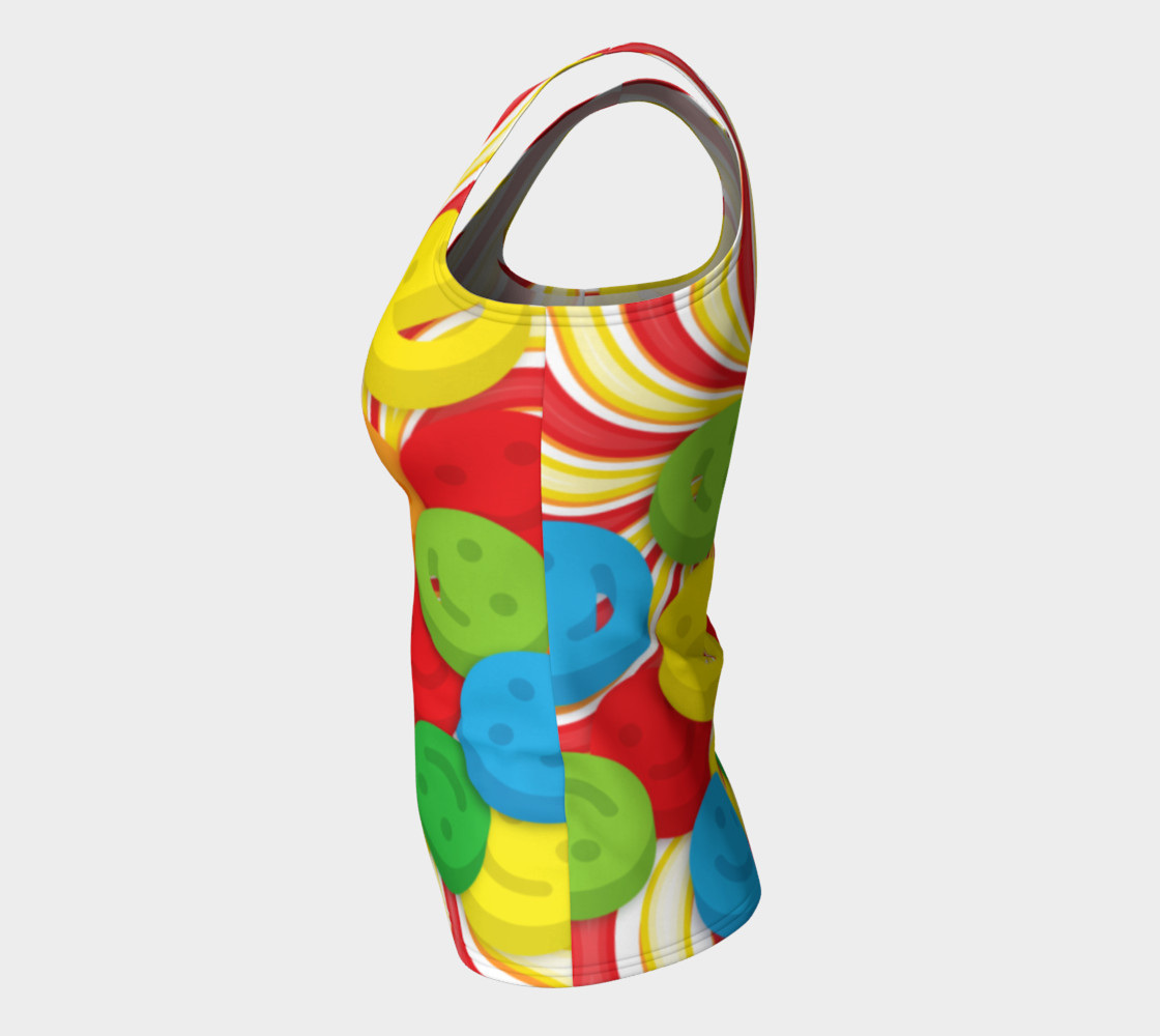 Aperçu de Rainbow Candy Swirls and Smiley Face Emojis Fitted Tank Top #7