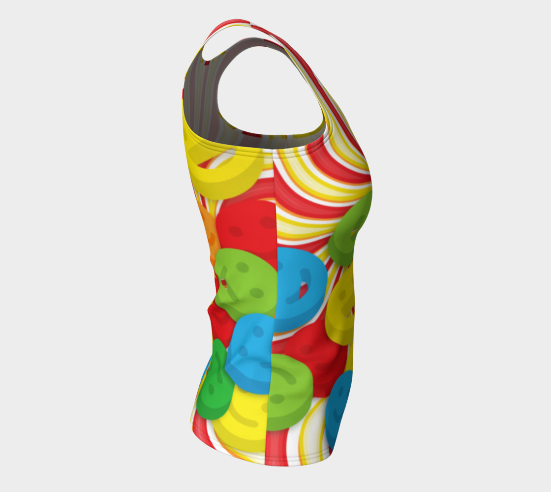 Aperçu de Rainbow Candy Swirls and Smiley Face Emojis Fitted Tank Top #8