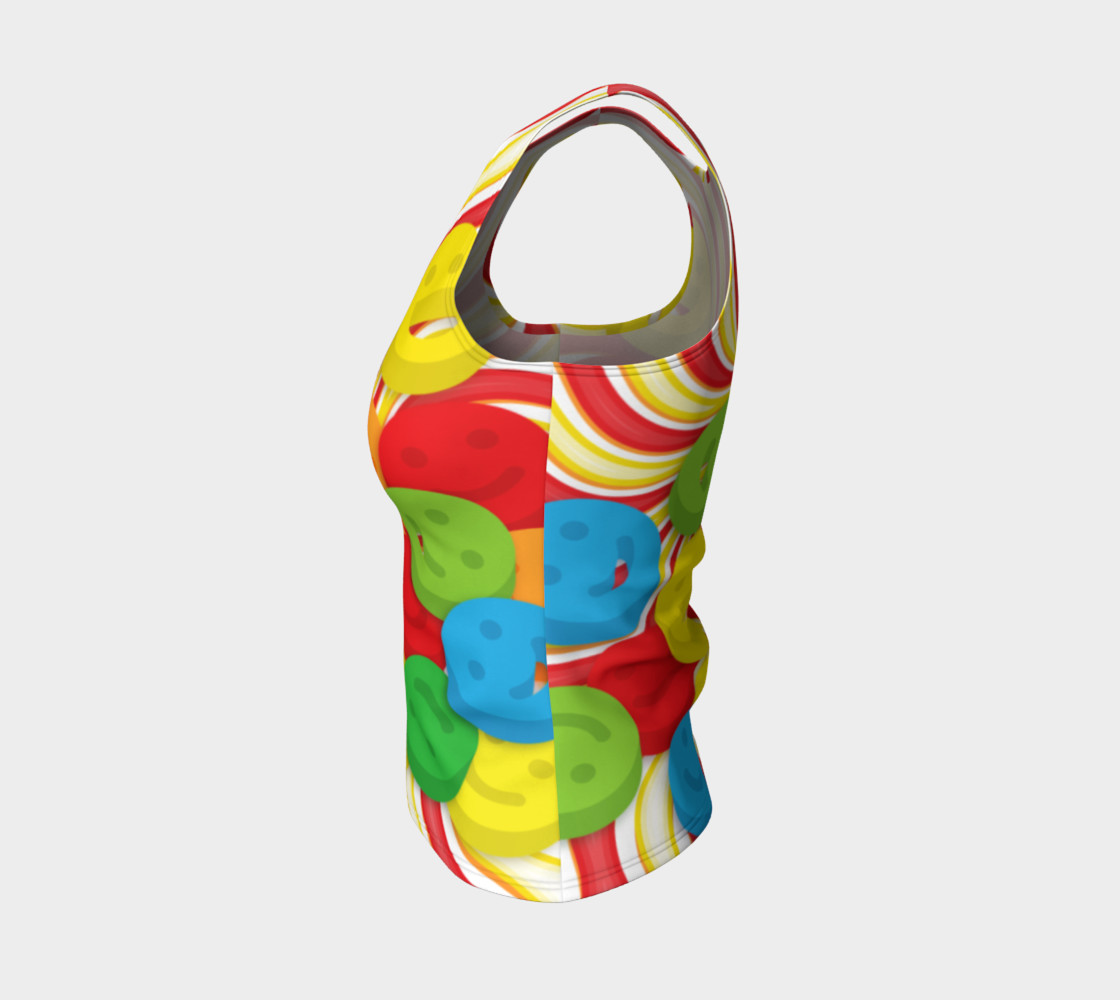 Aperçu de Rainbow Candy Swirls and Smiley Face Emojis Fitted Tank Top #3