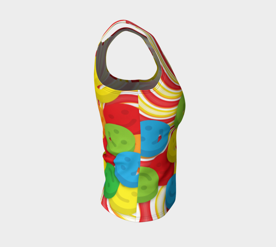 Aperçu de Rainbow Candy Swirls and Smiley Face Emojis Fitted Tank Top #4