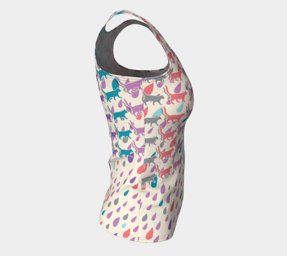Aperçu de Strolling Cats and Rain Drops Fitted Tank Top #8