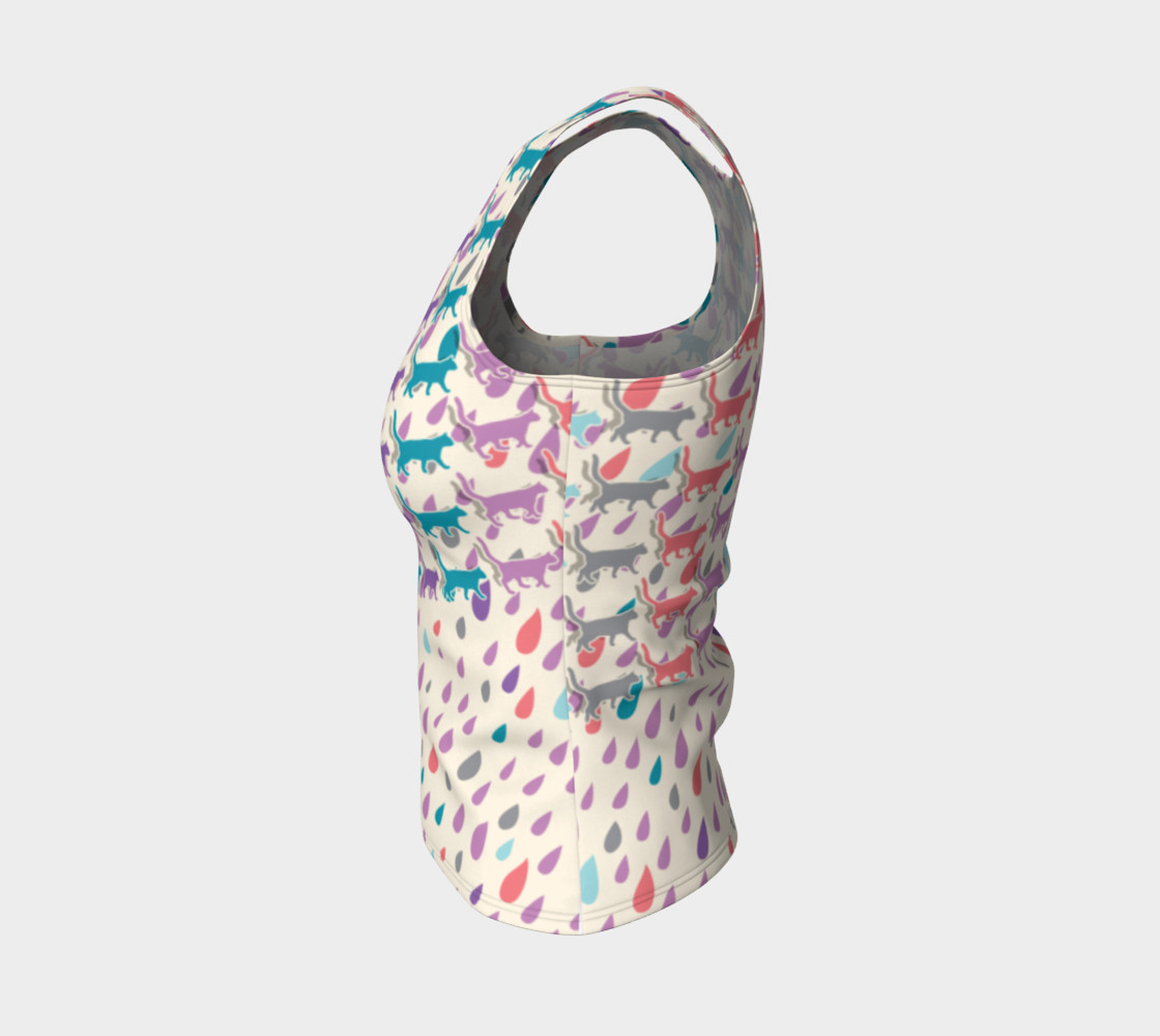 Aperçu de Strolling Cats and Rain Drops Fitted Tank Top #3