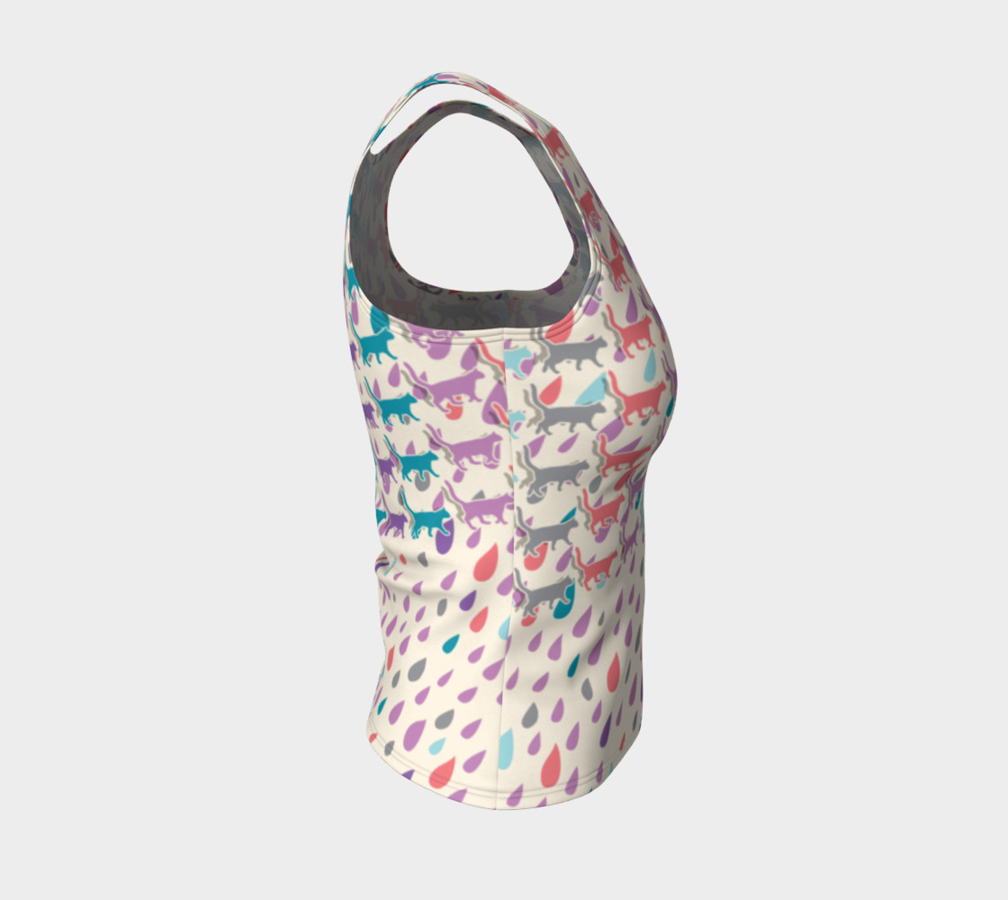 Aperçu de Strolling Cats and Rain Drops Fitted Tank Top #4