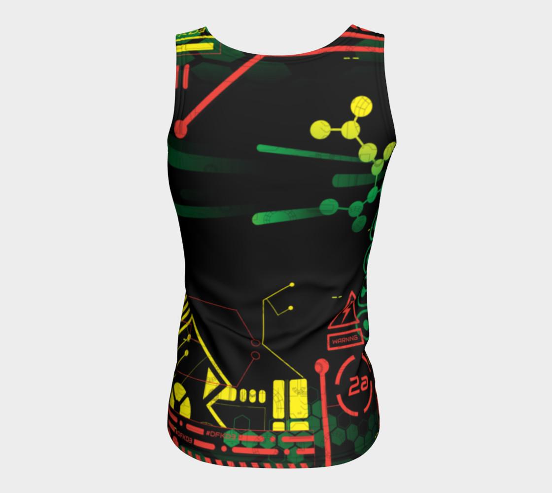 Aperçu de Futuristic Sci-Fi Techno Red Green Yellow Fitted Tank Top #6