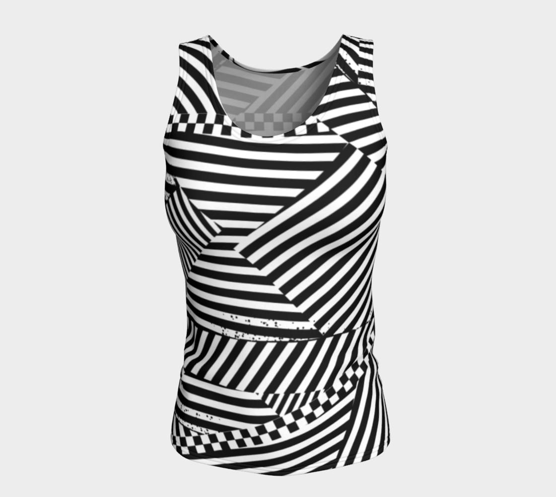 Aperçu de Black White Stripes Checkerboard Patchwork Fitted Tank Top #5