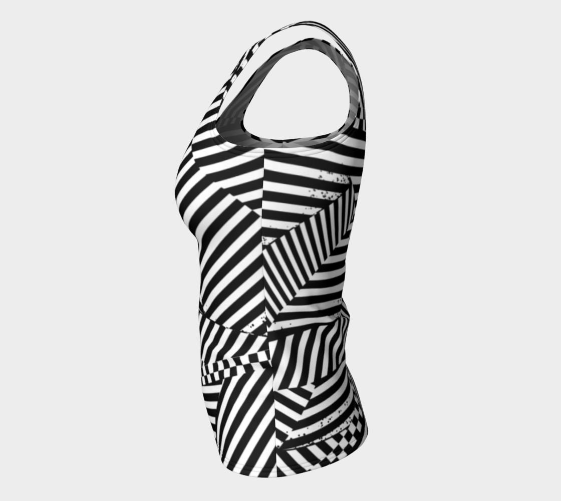 Aperçu de Black White Stripes Checkerboard Patchwork Fitted Tank Top #7