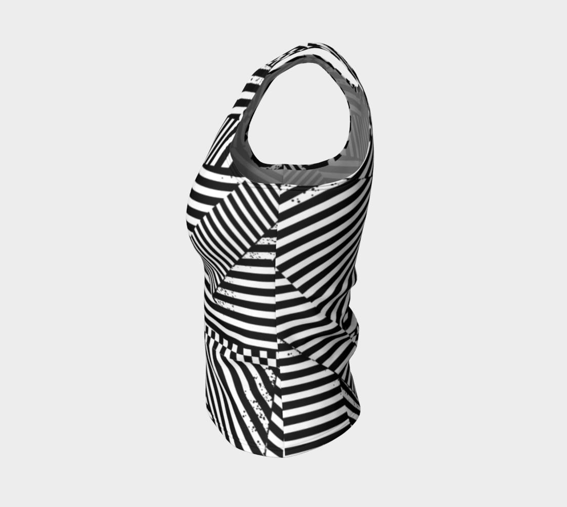 Aperçu de Black White Stripes Checkerboard Patchwork Fitted Tank Top #3