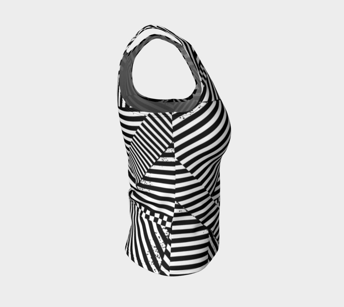Aperçu de Black White Stripes Checkerboard Patchwork Fitted Tank Top #4