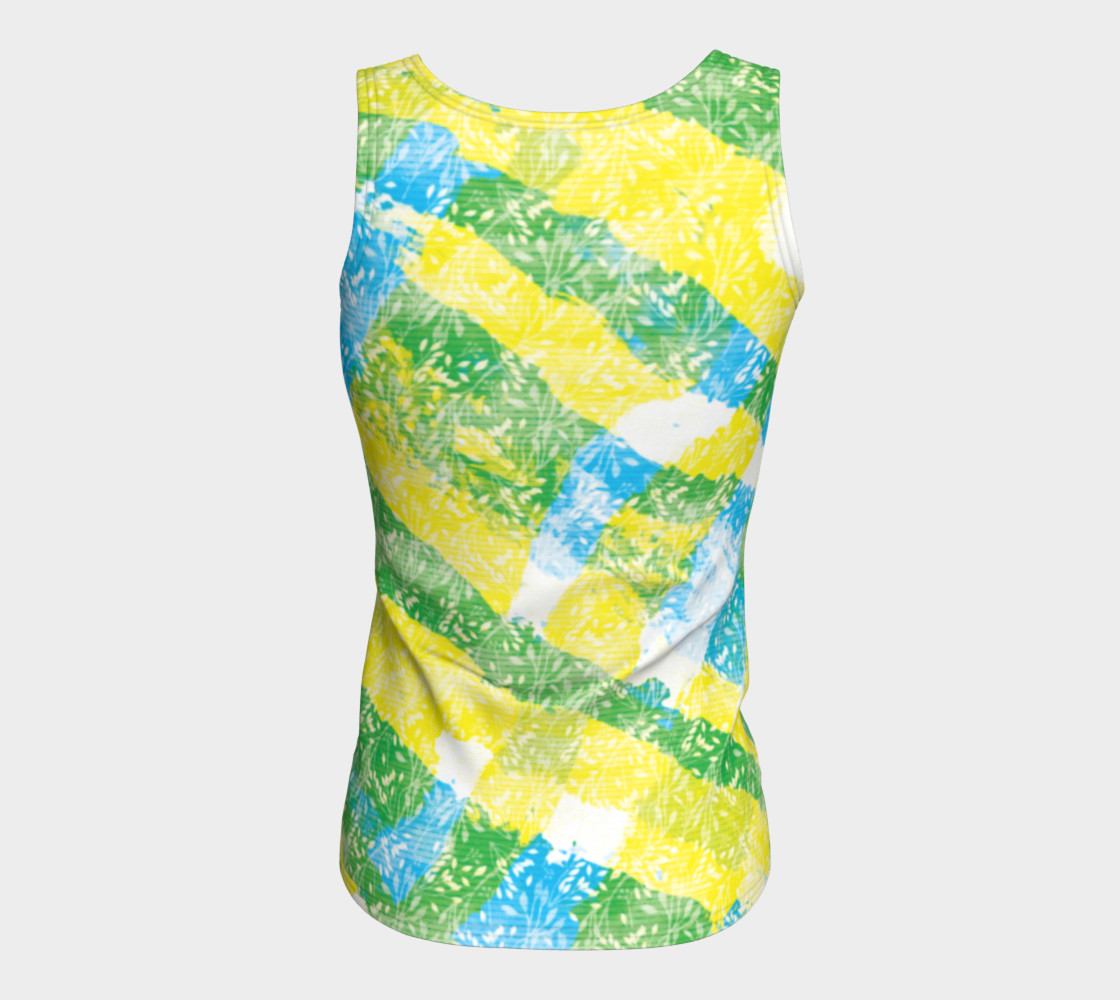 Aperçu de Yellow Blue Green White Paint Stripes Floral Fitted Tank Top #6