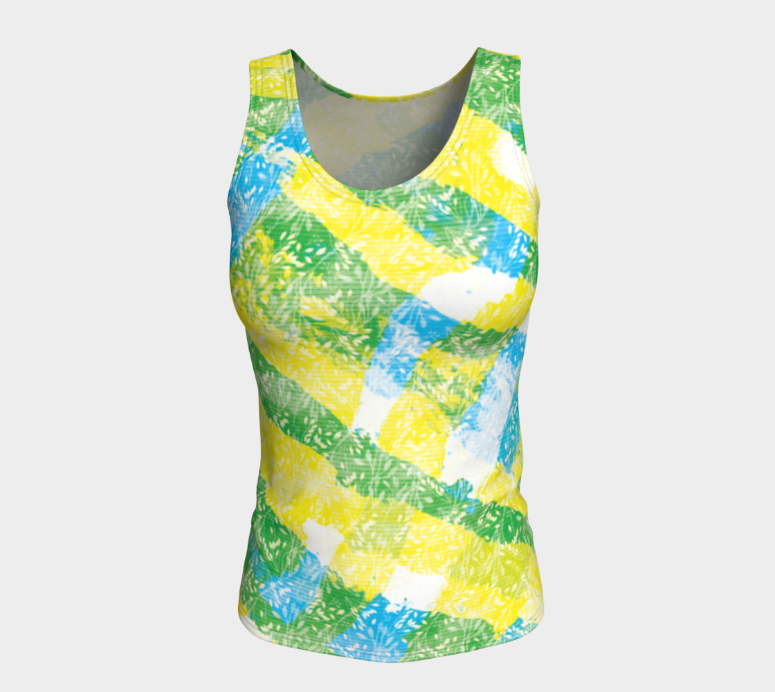 Aperçu de Yellow Blue Green White Paint Stripes Floral Fitted Tank Top #5