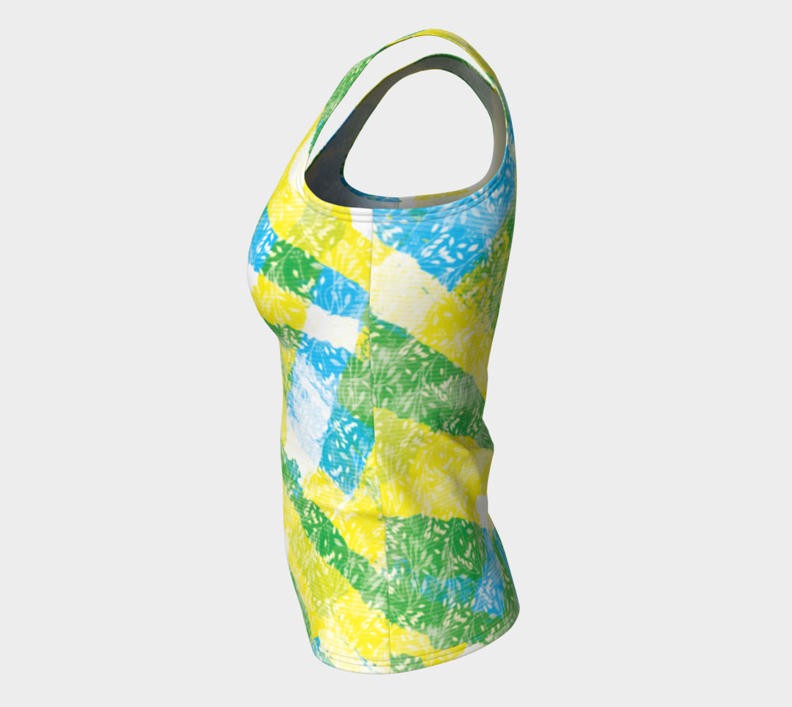 Aperçu de Yellow Blue Green White Paint Stripes Floral Fitted Tank Top #7