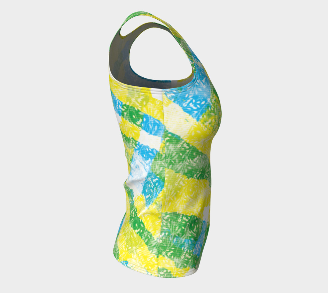 Aperçu de Yellow Blue Green White Paint Stripes Floral Fitted Tank Top #8