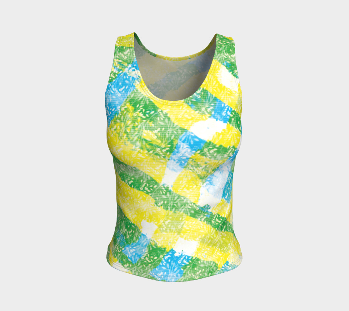 Aperçu de Yellow Blue Green White Paint Stripes Floral Fitted Tank Top #1
