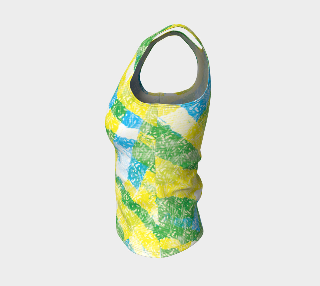 Aperçu de Yellow Blue Green White Paint Stripes Floral Fitted Tank Top #3