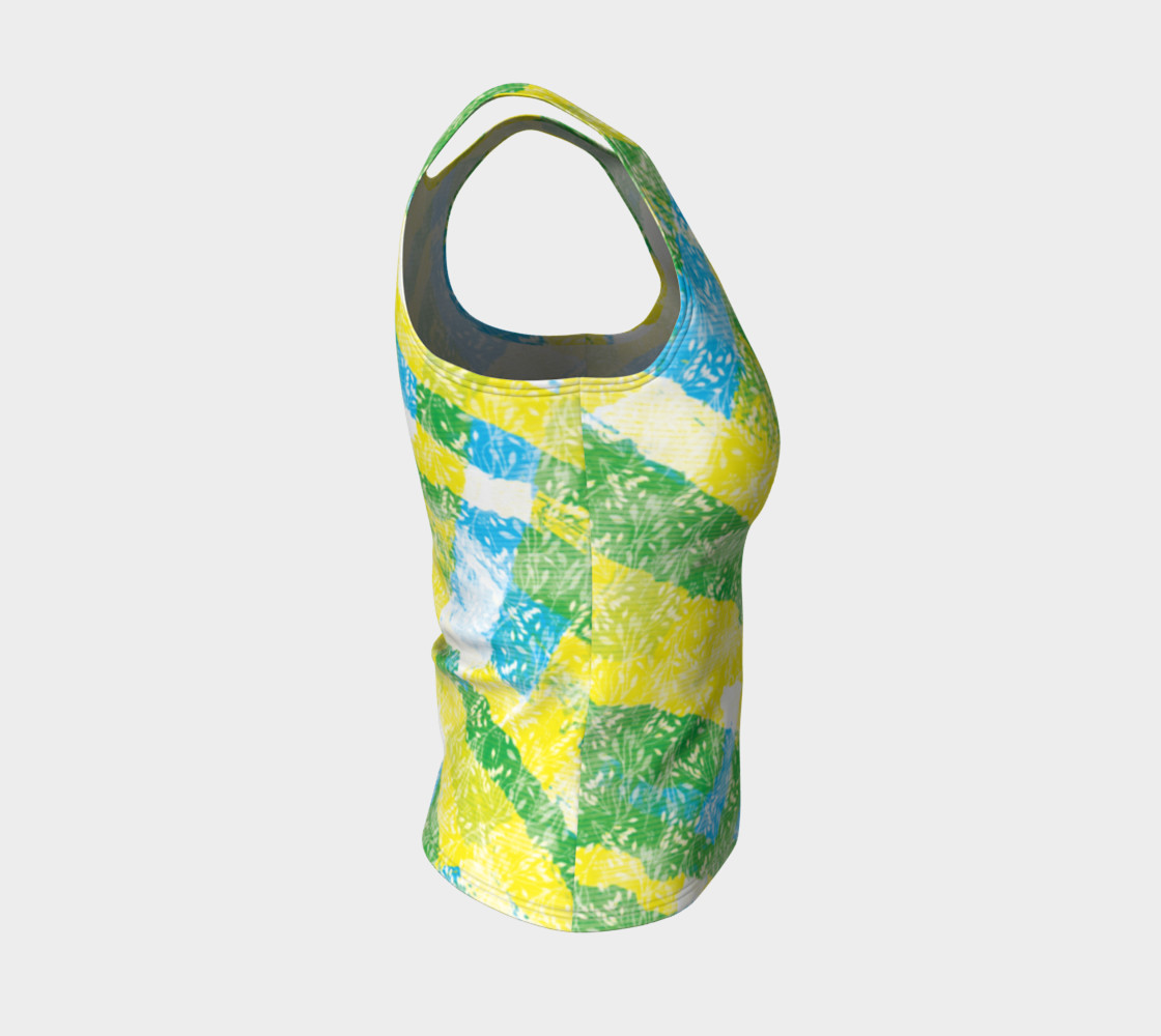 Aperçu de Yellow Blue Green White Paint Stripes Floral Fitted Tank Top #4