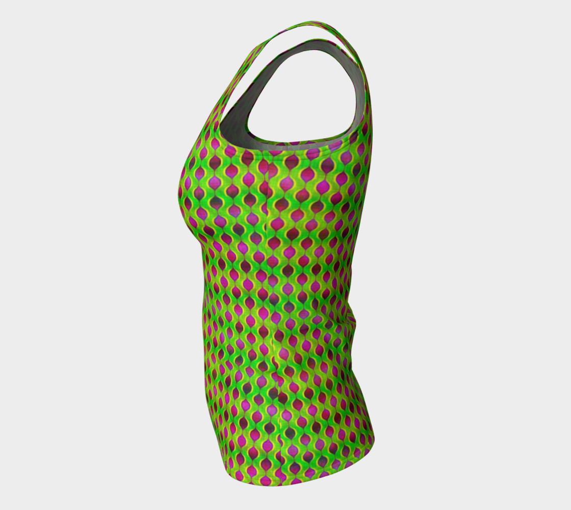 Fun Bright Green Purple Ogee Pattern  Fitted Tank Top Miniature #8