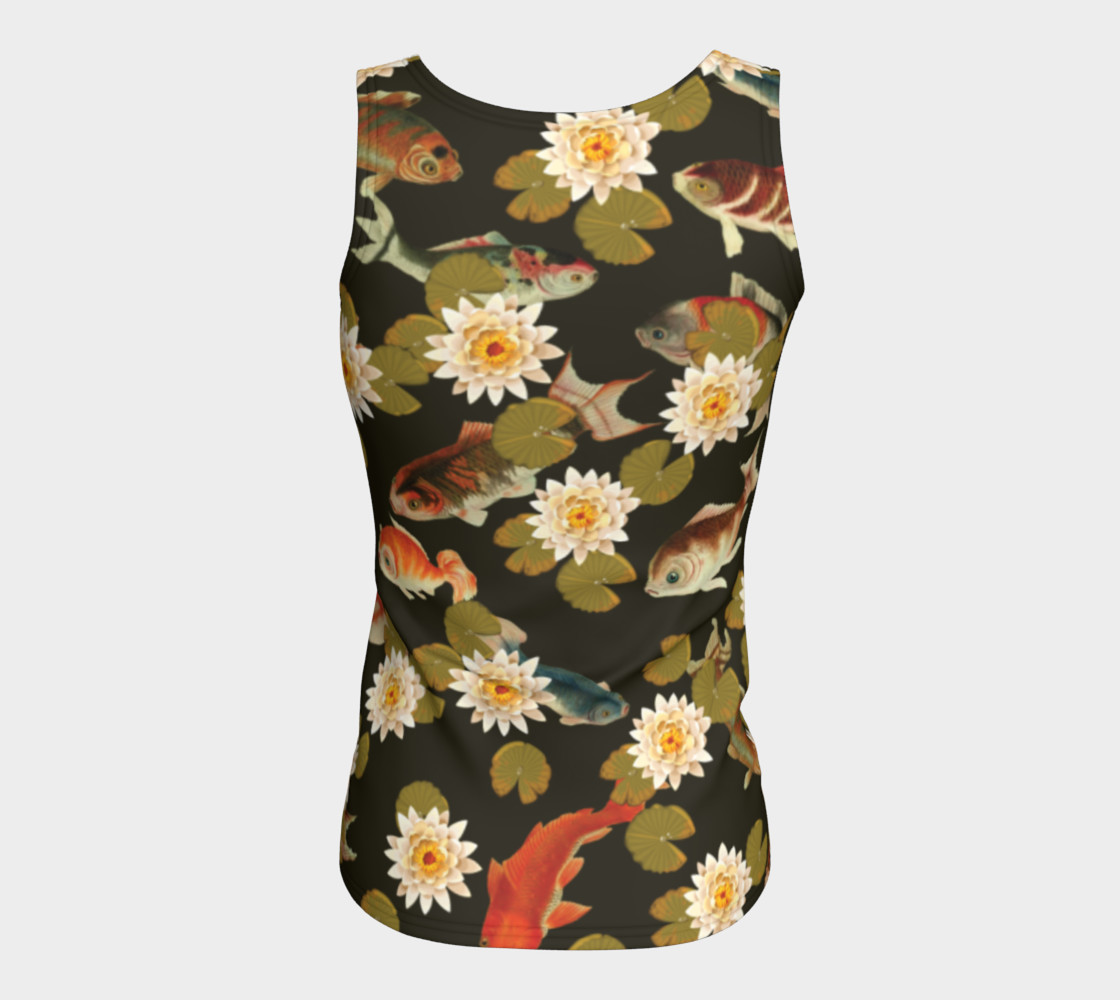 Koi & Lily Pads in Dark Water - Fitted Tank Top preview #6