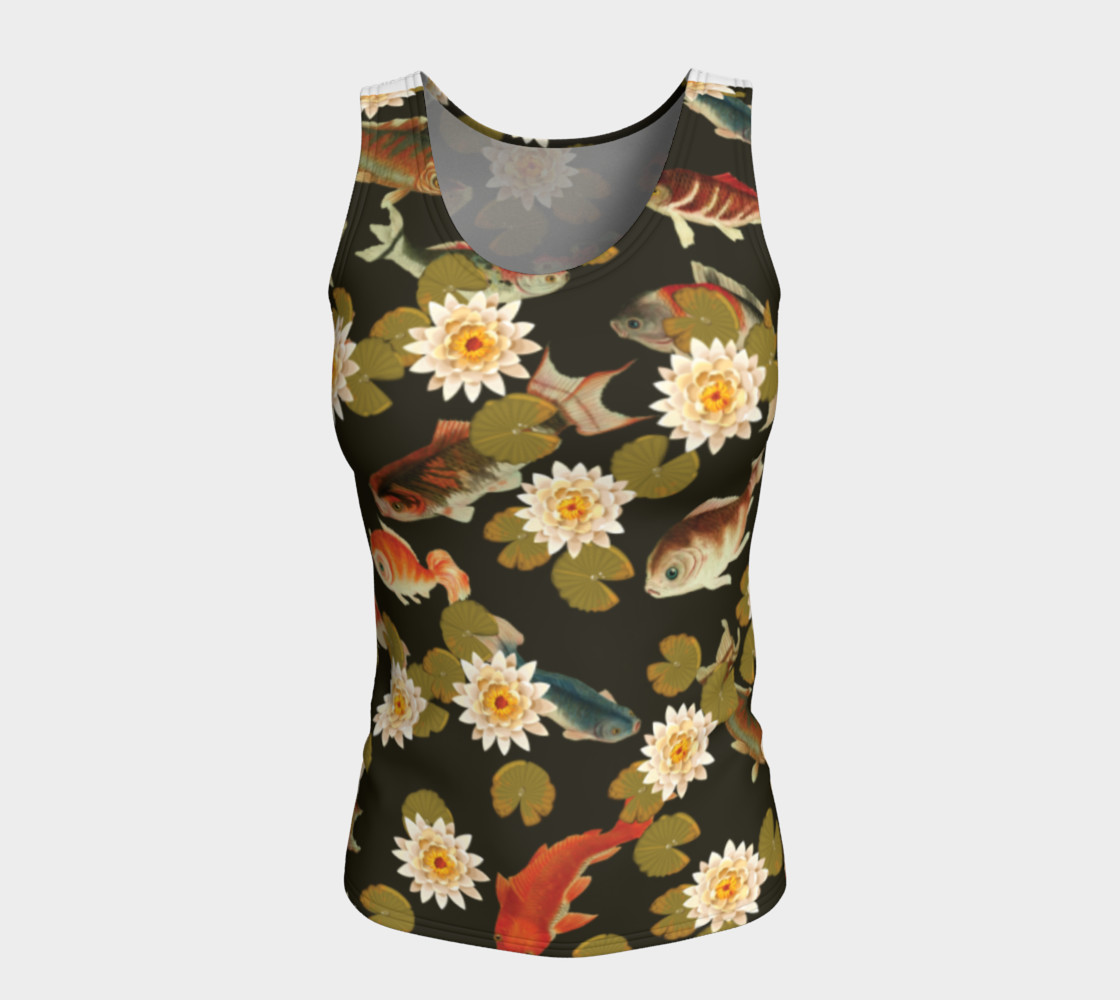 Koi & Lily Pads in Dark Water - Fitted Tank Top preview #5