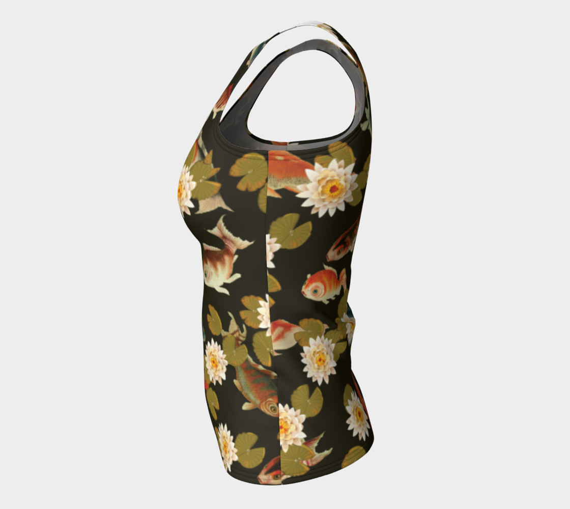 Koi & Lily Pads in Dark Water - Fitted Tank Top preview #7