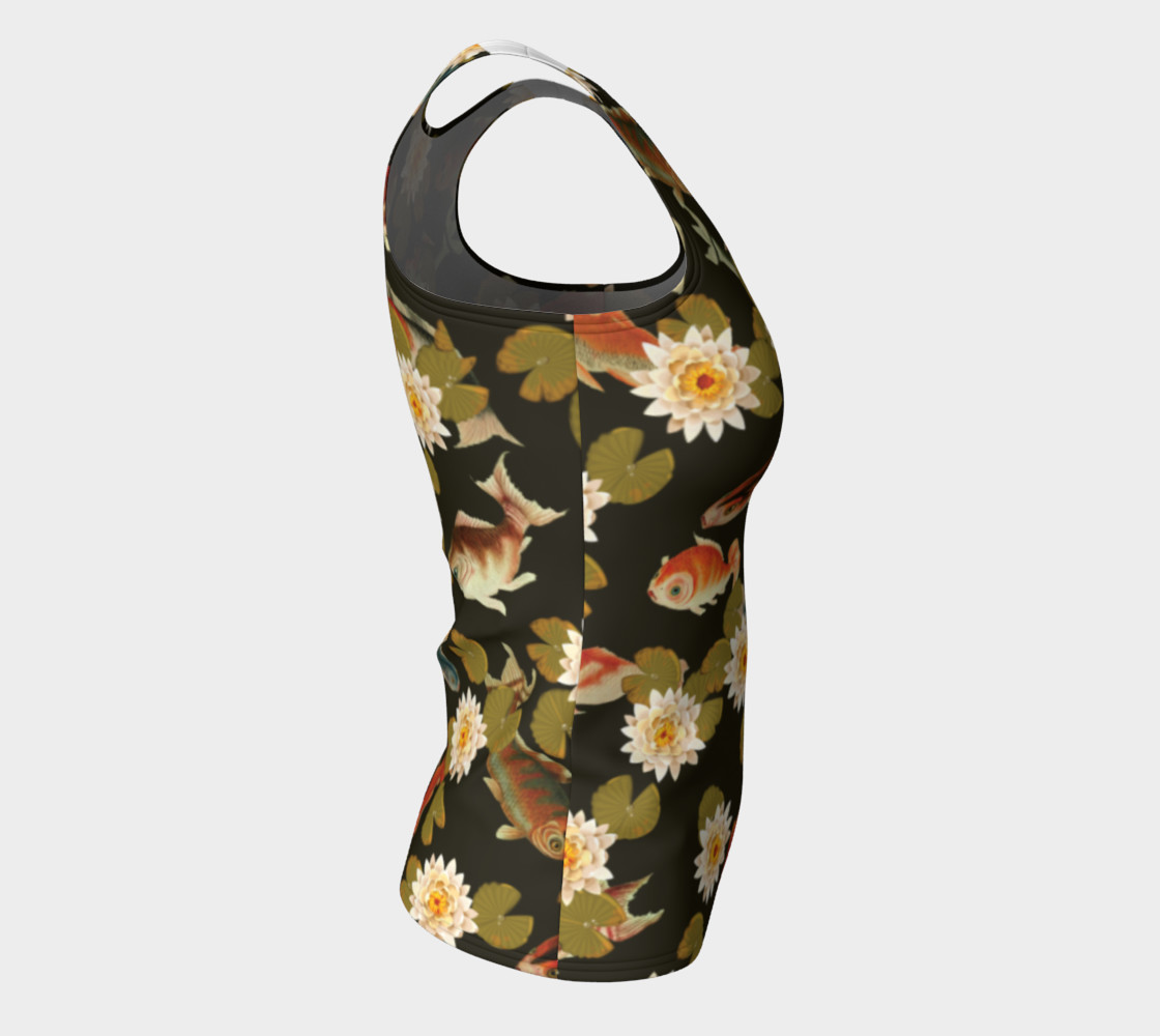 Koi & Lily Pads in Dark Water - Fitted Tank Top preview #8