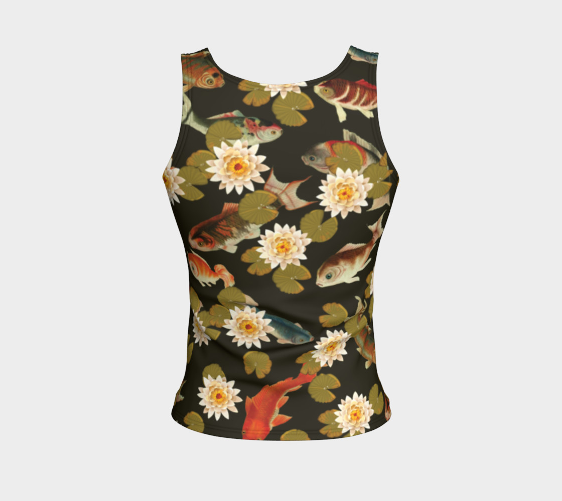 Koi & Lily Pads in Dark Water - Fitted Tank Top preview #2