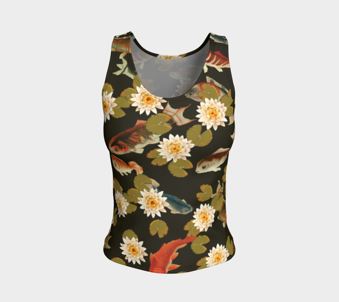 Koi & Lily Pads in Dark Water - Fitted Tank Top preview #1
