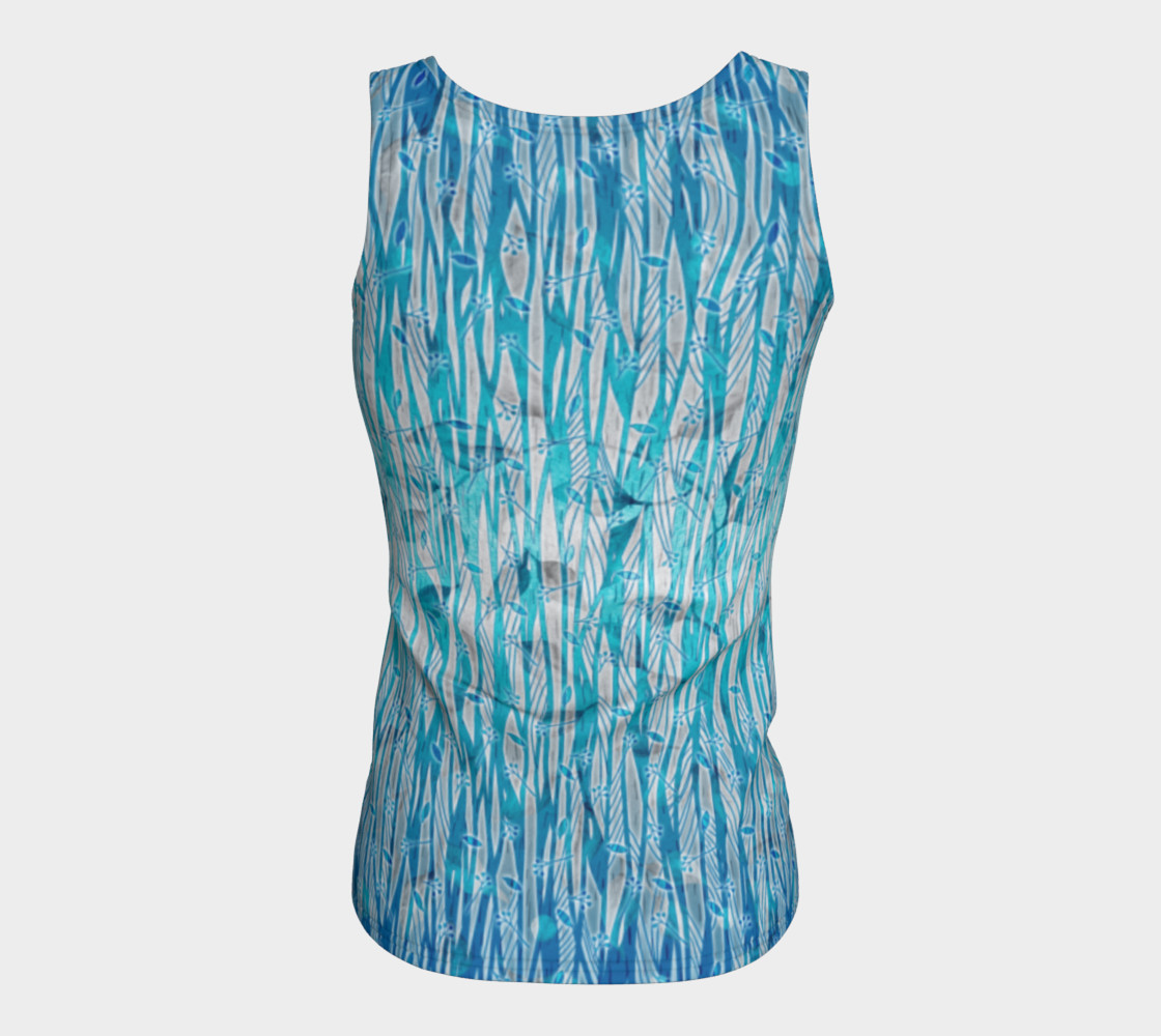 Blue Turquoise Silver Leafy Floral Fitted Tank Top preview #6