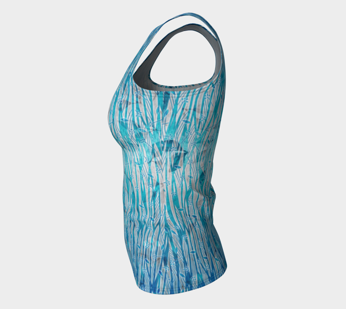 Blue Turquoise Silver Leafy Floral Fitted Tank Top preview #7