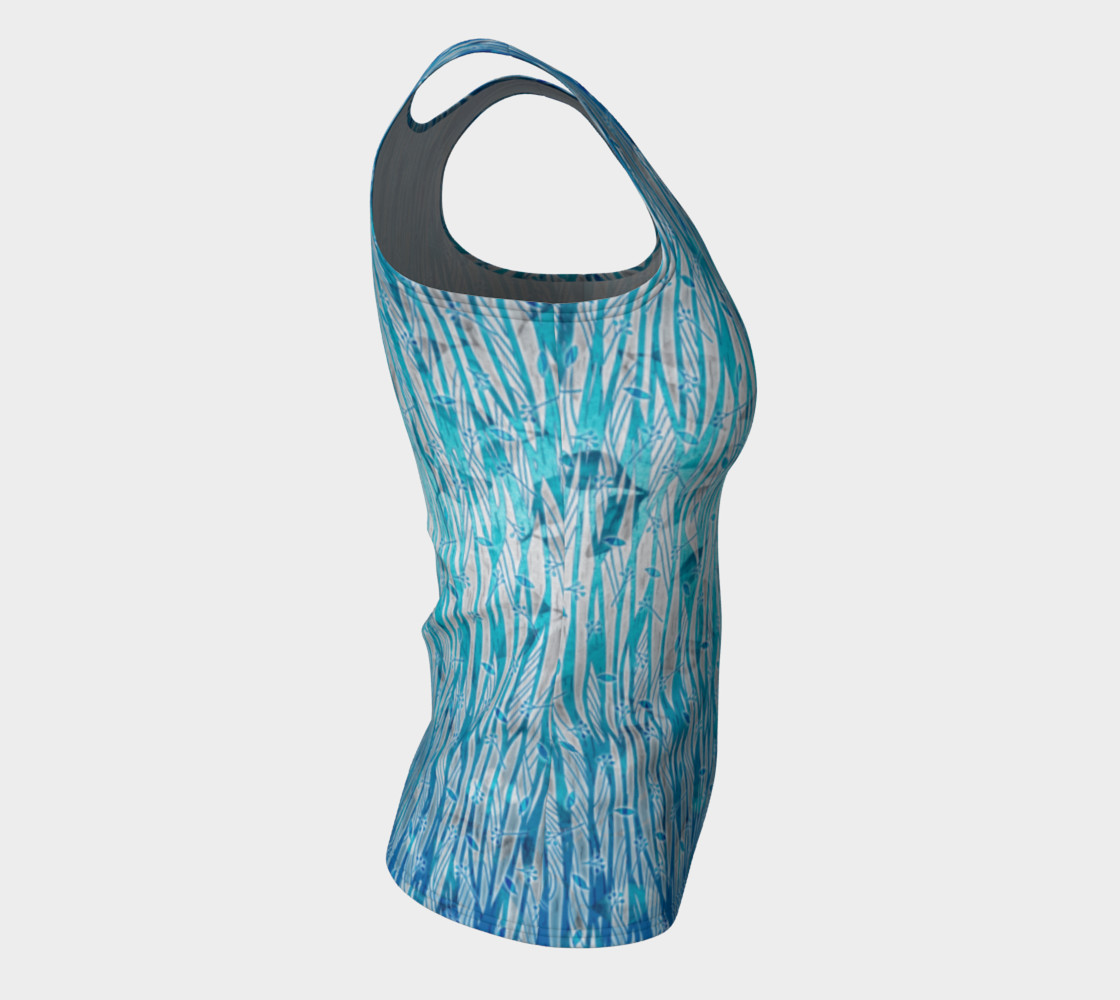 Blue Turquoise Silver Leafy Floral Fitted Tank Top preview #8