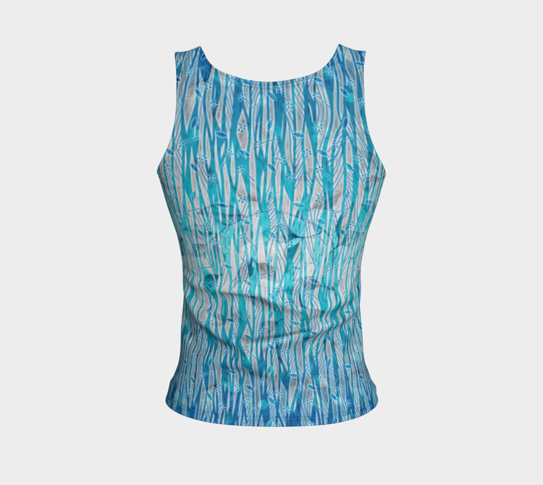 Blue Turquoise Silver Leafy Floral Fitted Tank Top preview #2