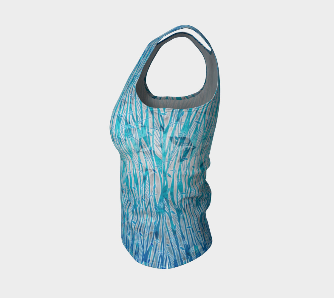 Blue Turquoise Silver Leafy Floral Fitted Tank Top preview #3