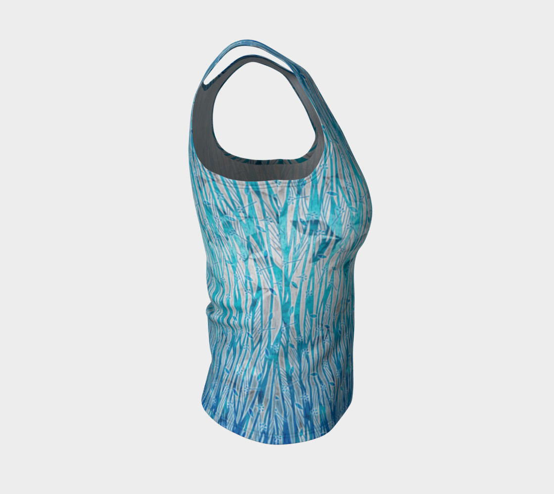 Blue Turquoise Silver Leafy Floral Fitted Tank Top preview #4