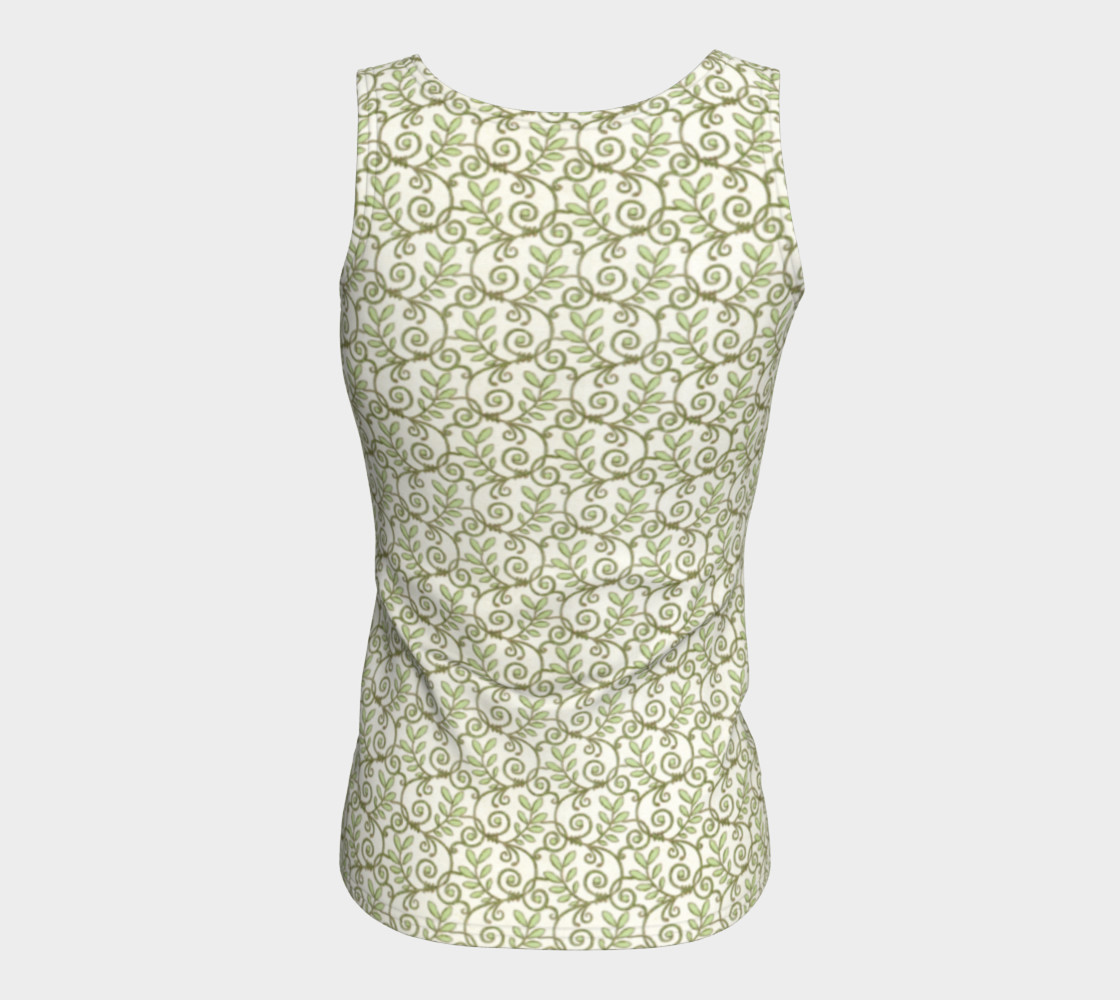 Green Cream Leafy Lace Floral Fitted Tank Top preview #6