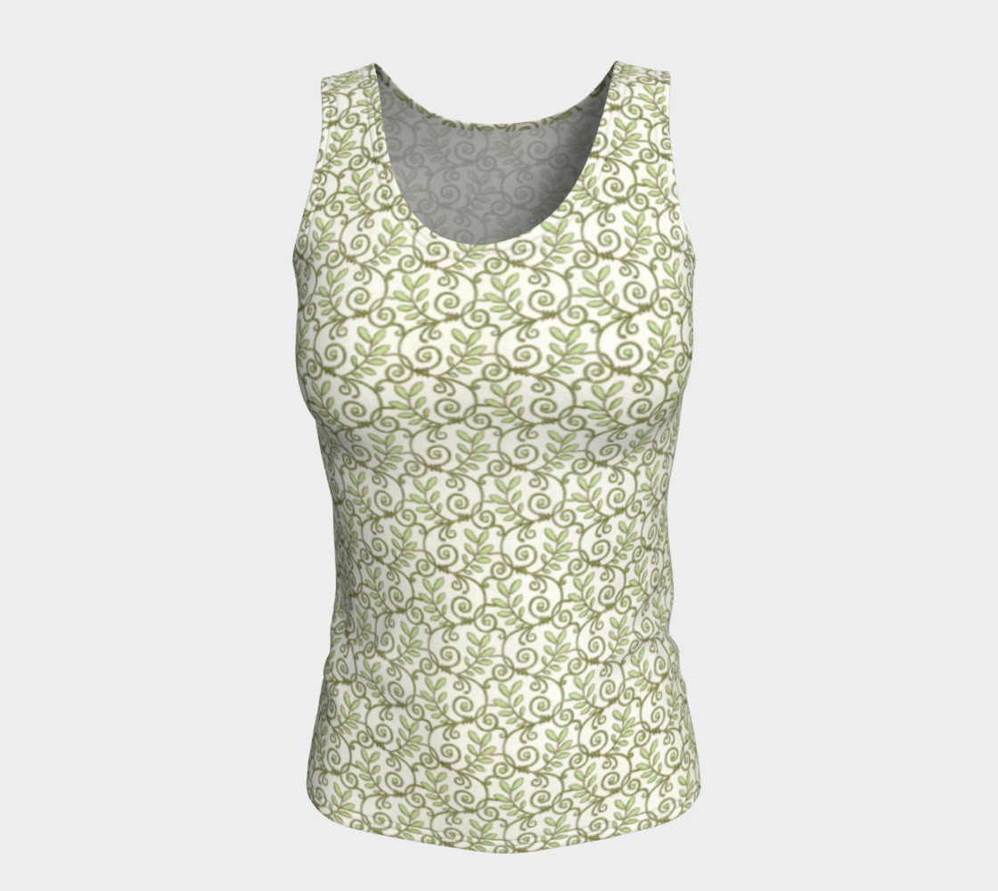 Green Cream Leafy Lace Floral Fitted Tank Top preview #5