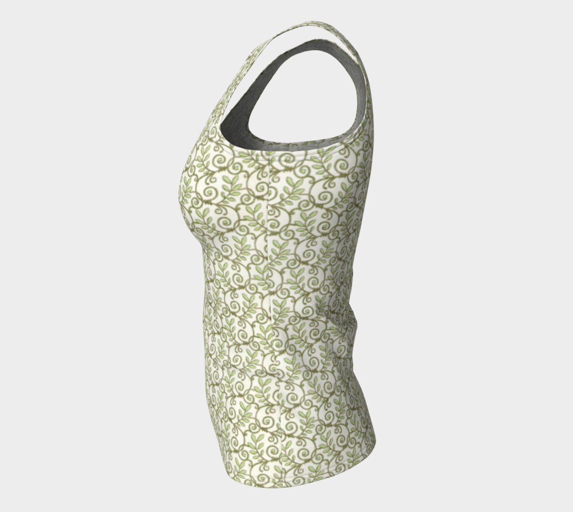 Green Cream Leafy Lace Floral Fitted Tank Top preview #7