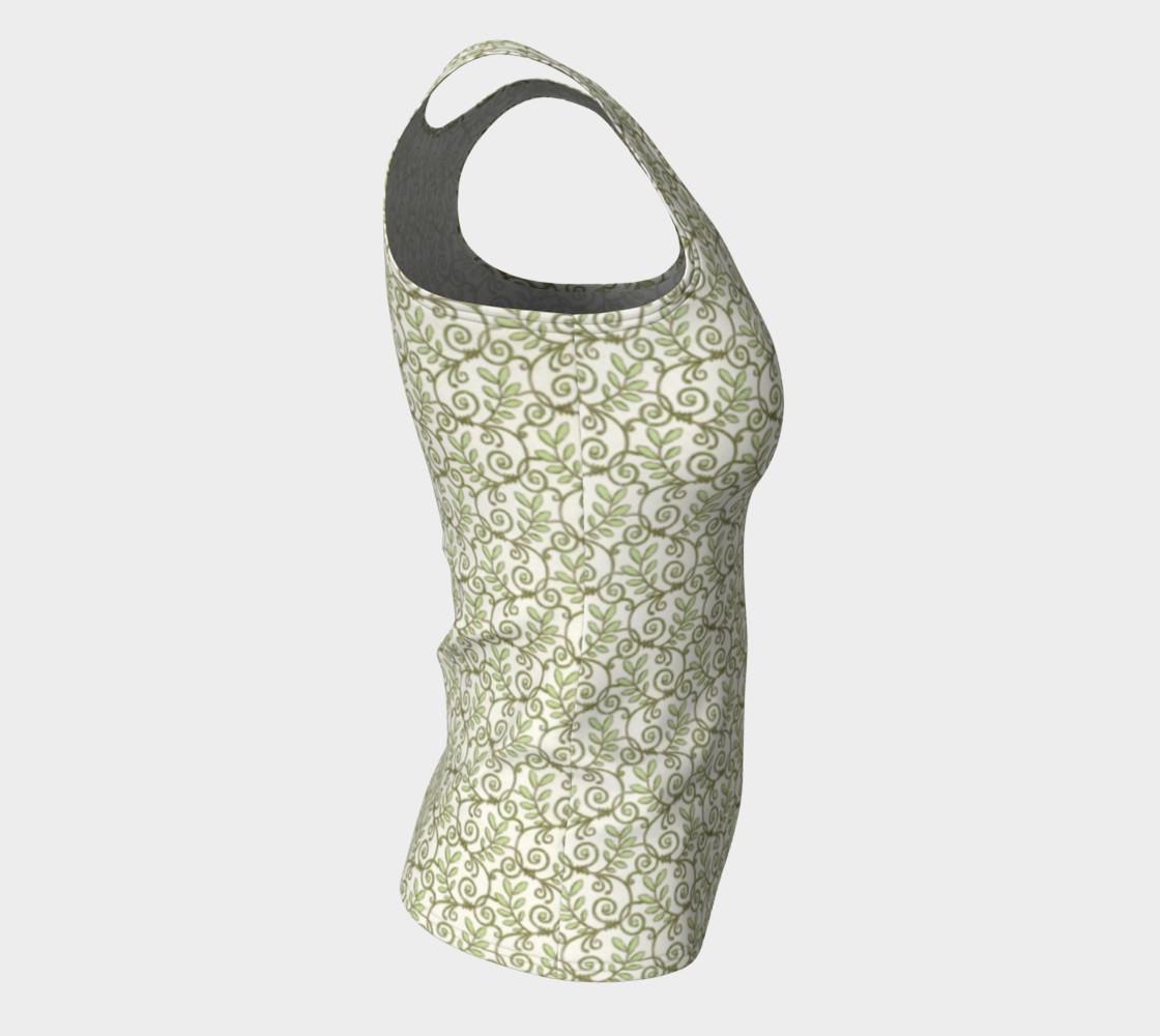 Green Cream Leafy Lace Floral Fitted Tank Top preview #8