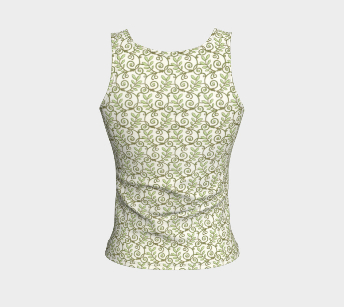 Green Cream Leafy Lace Floral Fitted Tank Top preview #2
