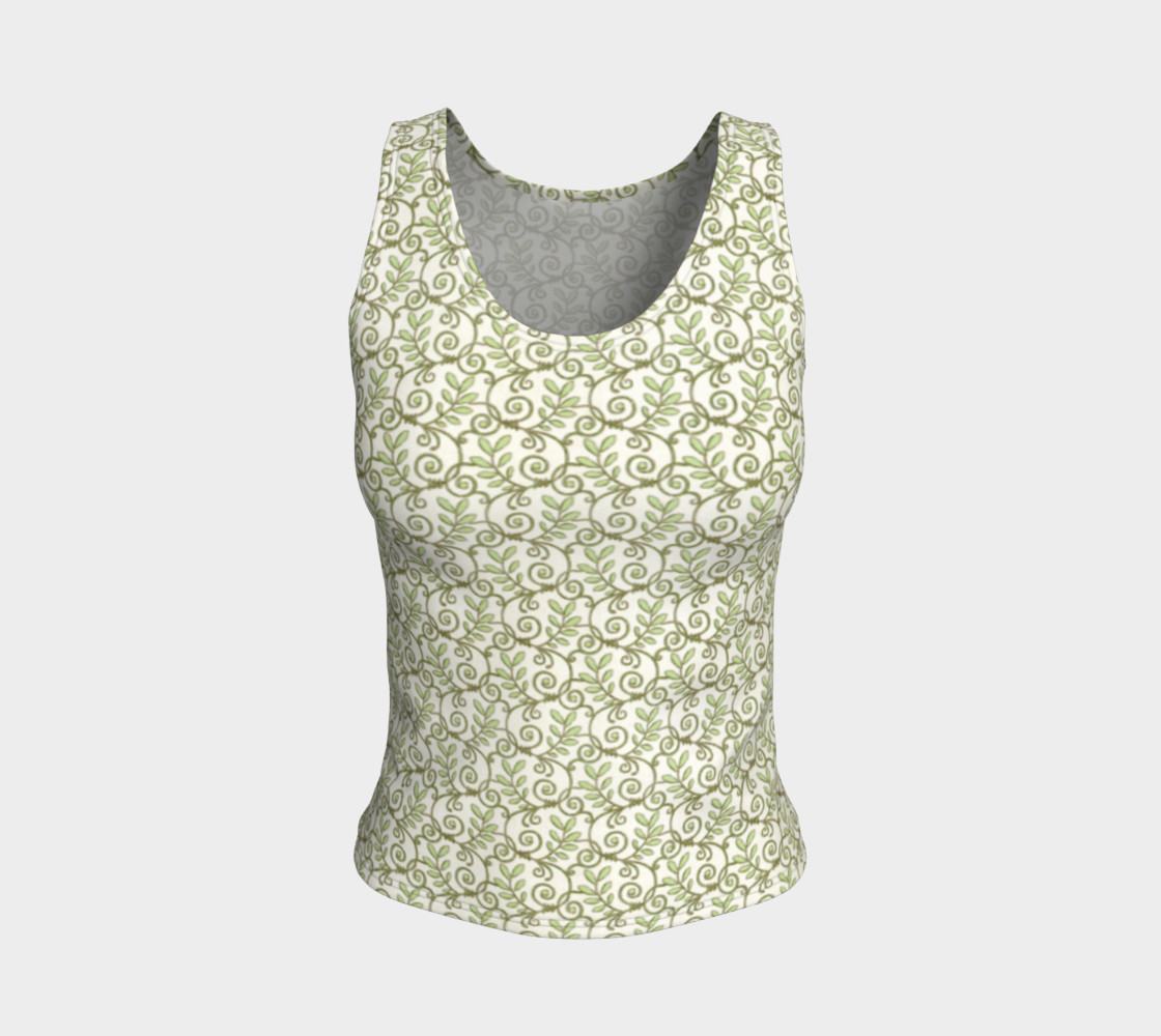 Green Cream Leafy Lace Floral Fitted Tank Top preview #1