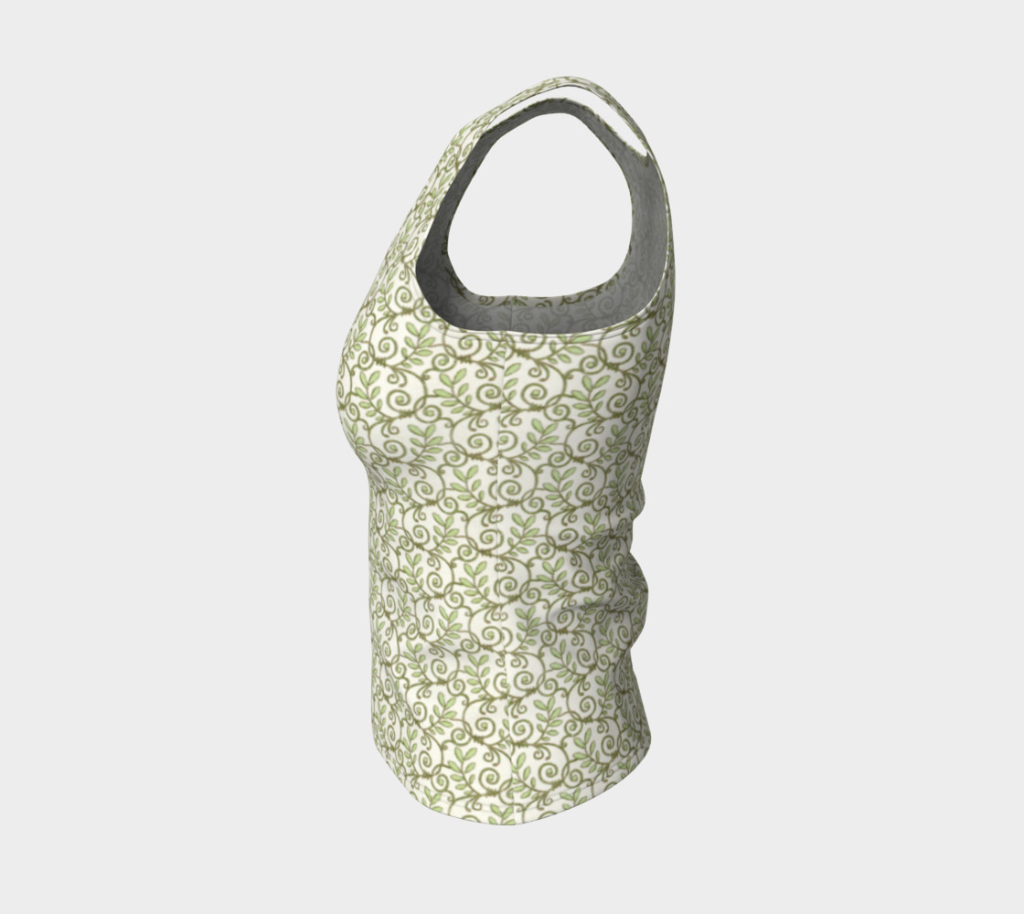 Green Cream Leafy Lace Floral Fitted Tank Top preview #3