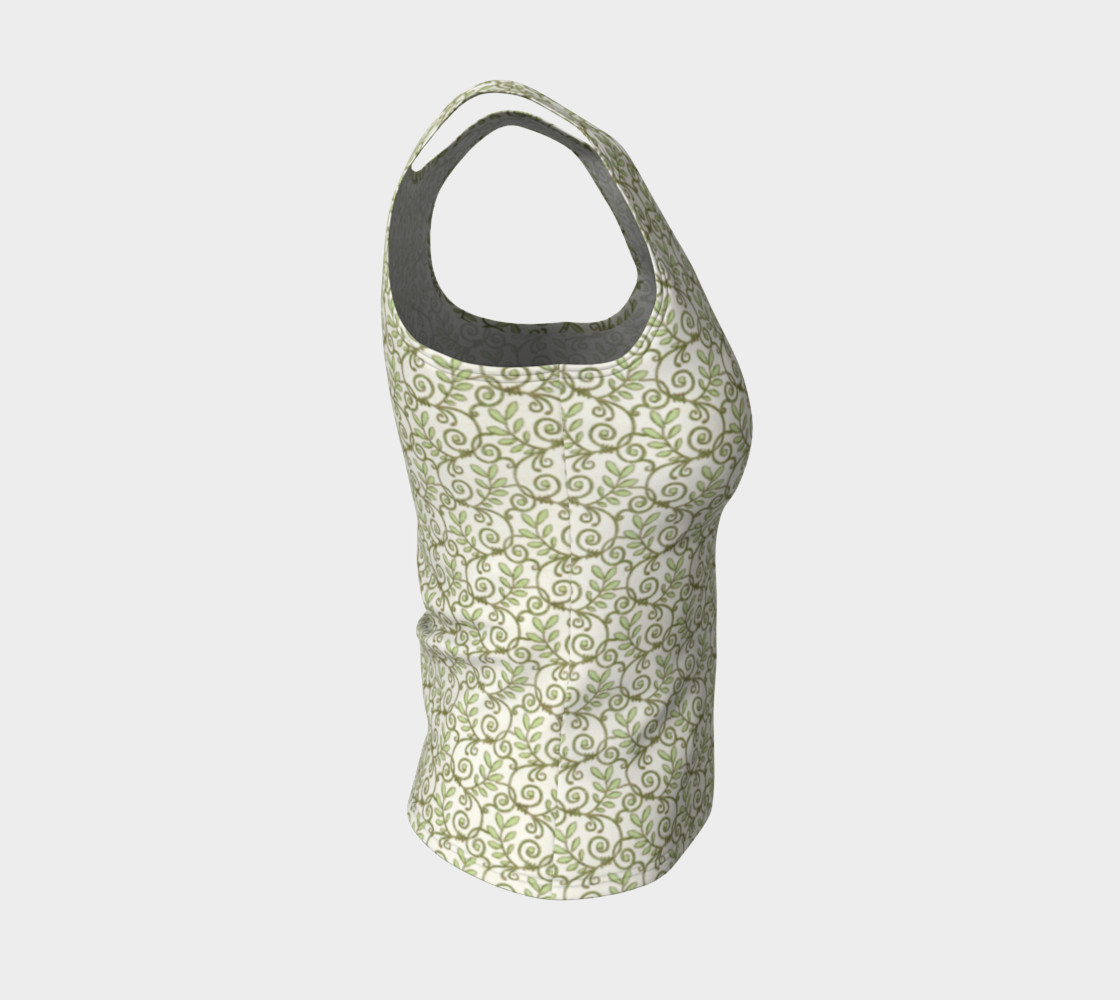 Green Cream Leafy Lace Floral Fitted Tank Top preview #4