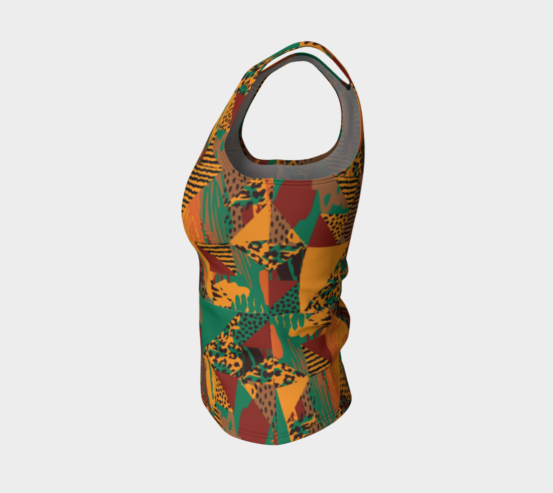 Abstract Safari Print Fitted Tank Top preview #3