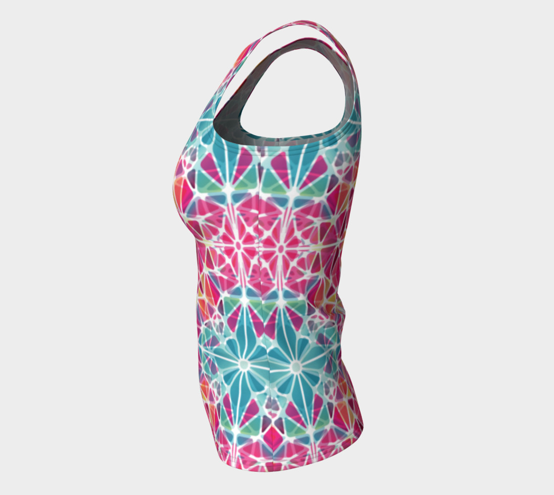 Pink and Blue Kaleidoscope Fitted Tank Top preview #7