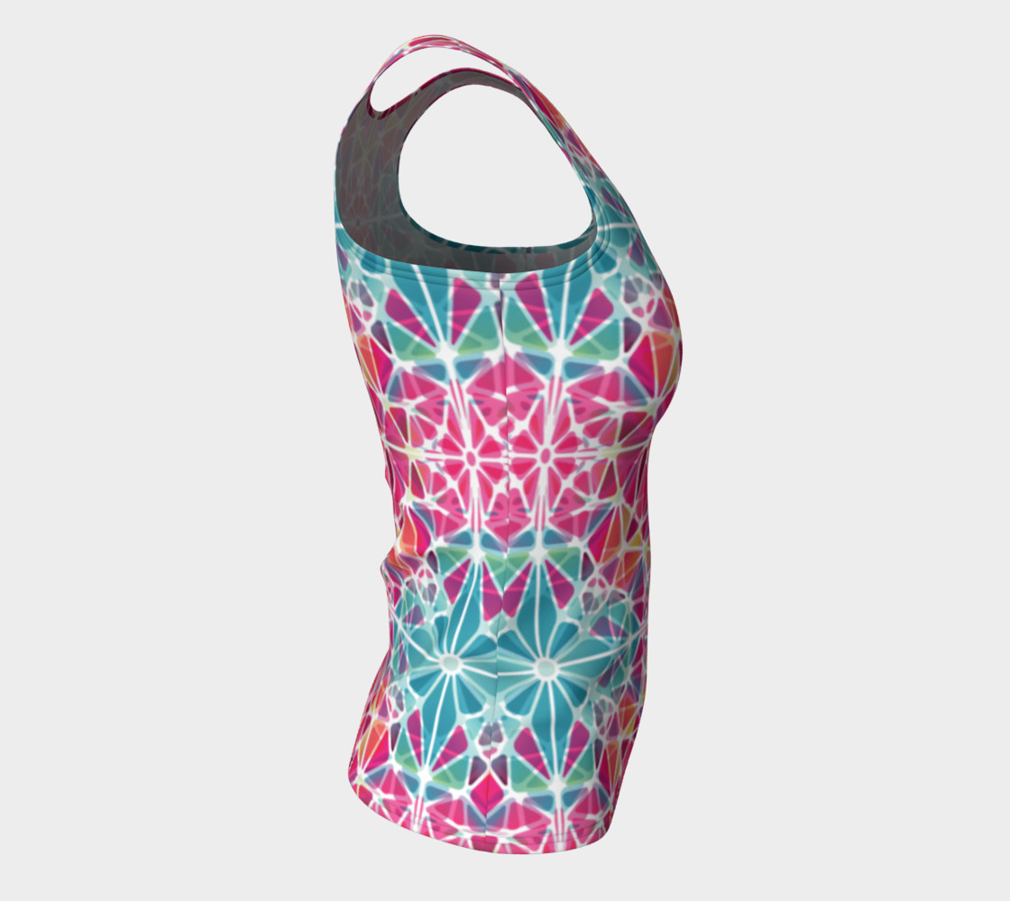Pink and Blue Kaleidoscope Fitted Tank Top preview #8