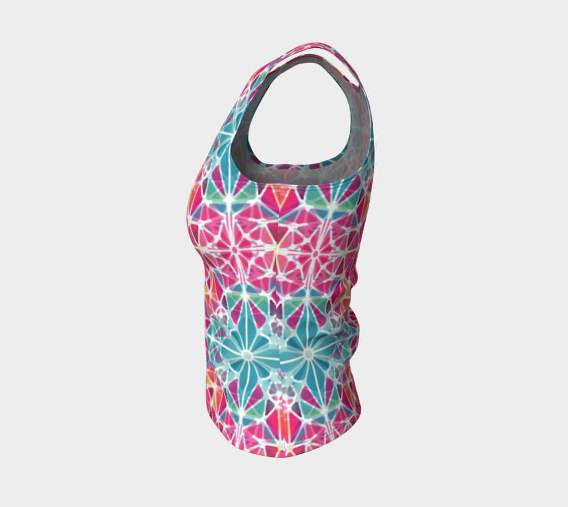 Pink and Blue Kaleidoscope Fitted Tank Top preview #3
