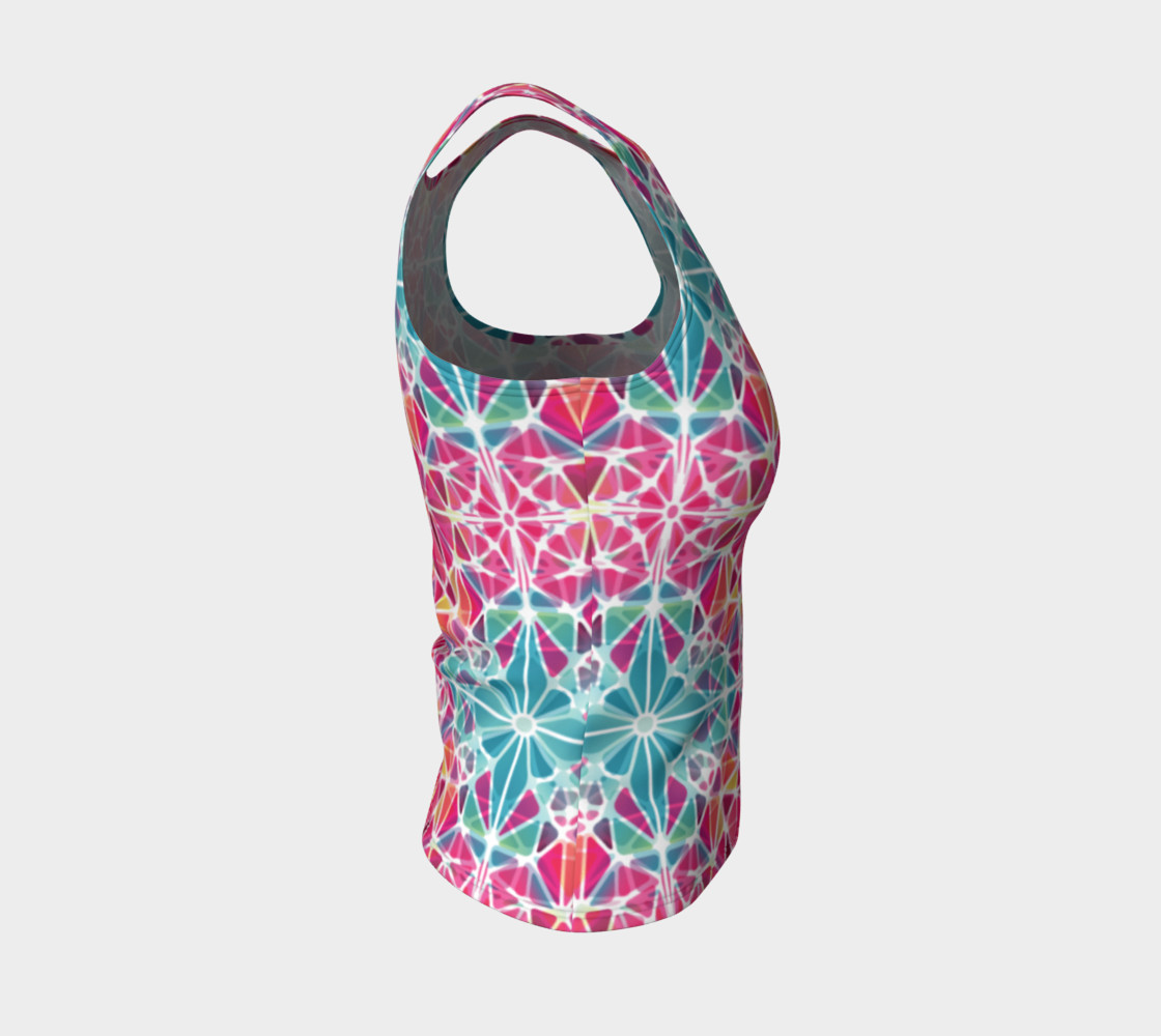 Pink and Blue Kaleidoscope Fitted Tank Top preview #4