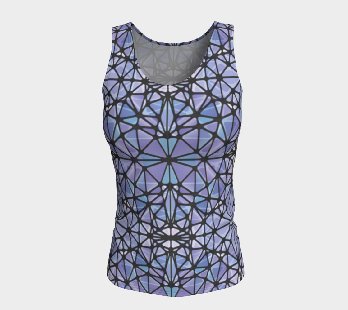 Purple and Blue Kaleidoscope Fitted Tank Top preview #5