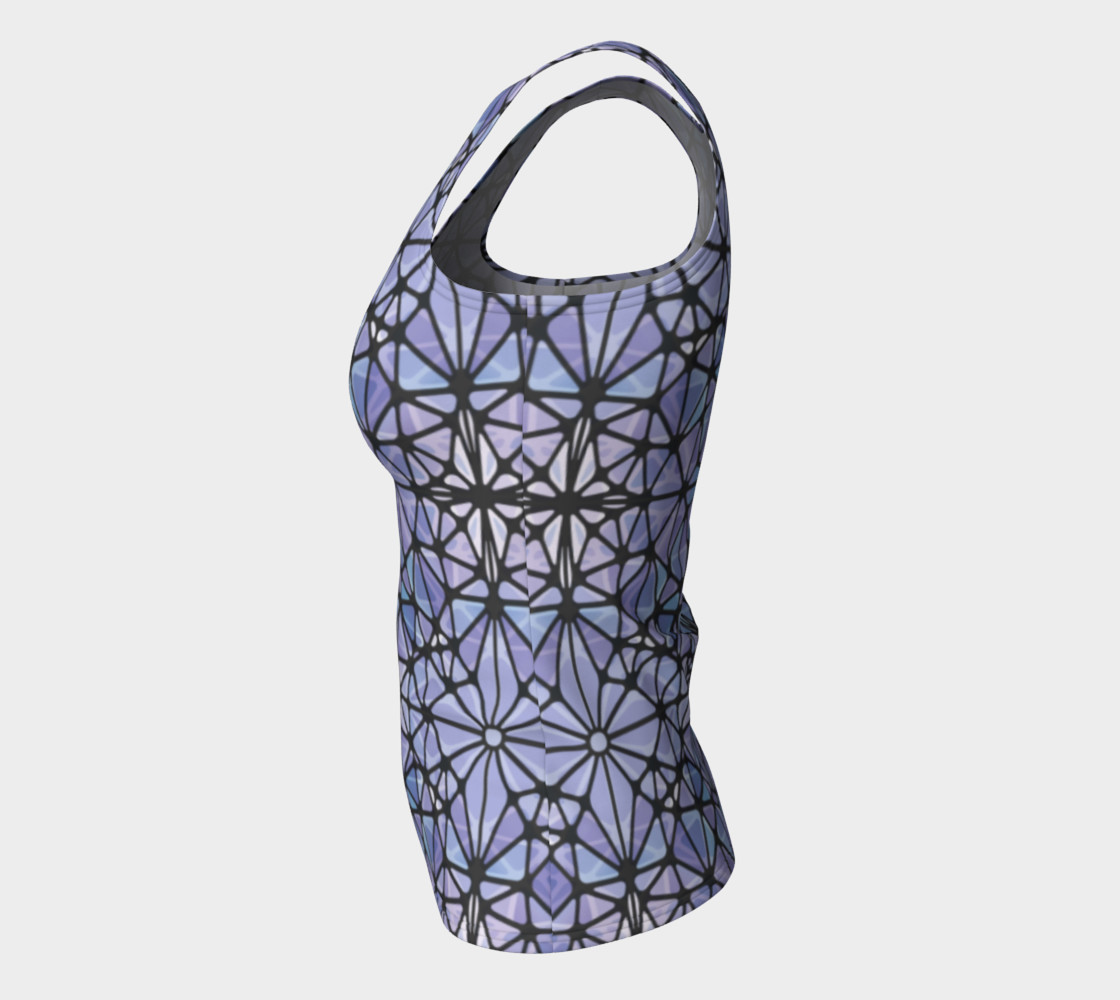 Purple and Blue Kaleidoscope Fitted Tank Top preview #7