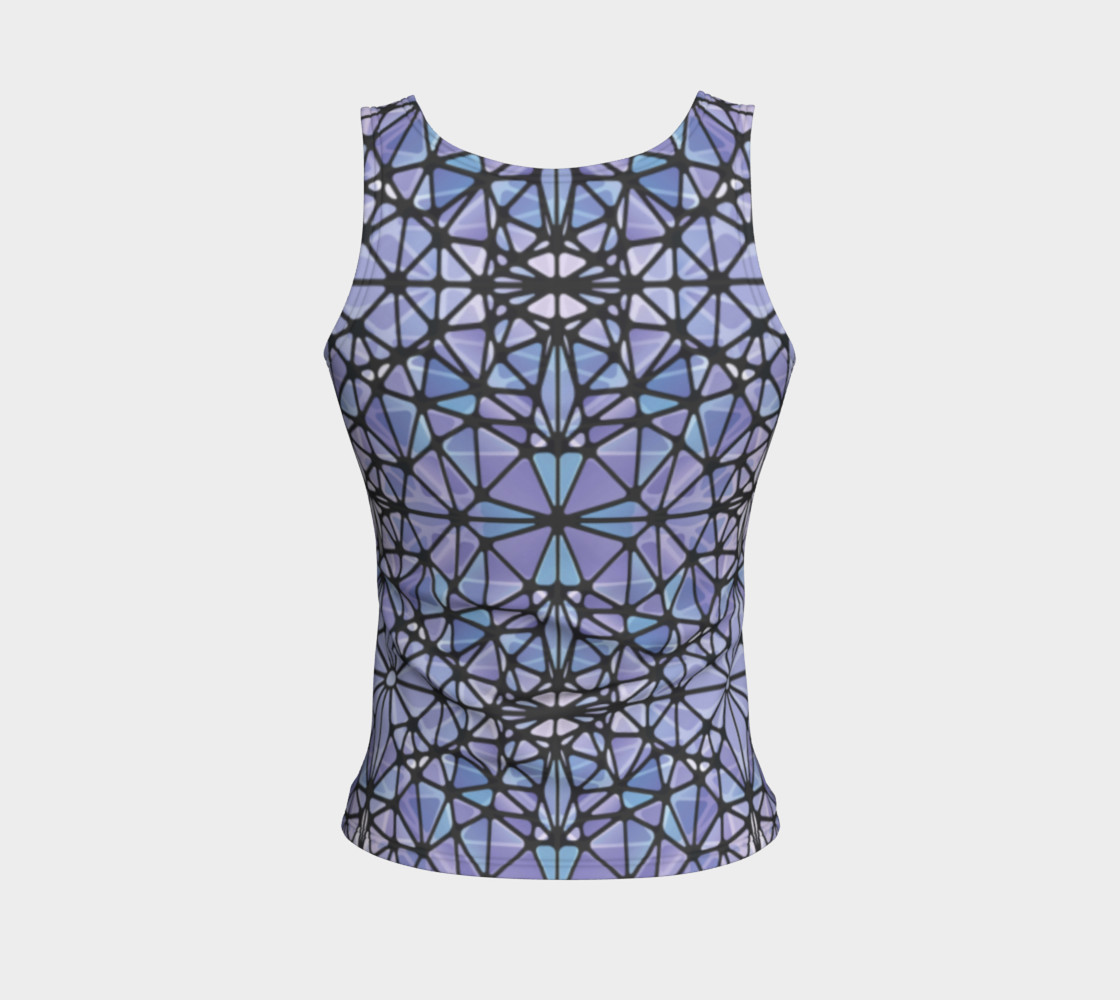 Purple and Blue Kaleidoscope Fitted Tank Top preview #2